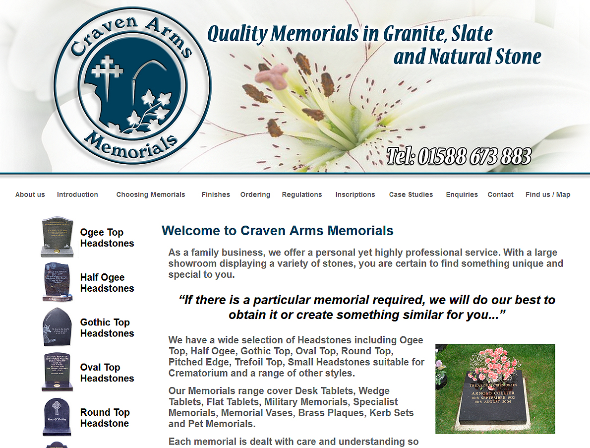 Craven Arms Memorials - Website Design