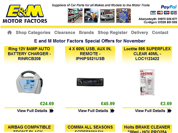 E and M Motor Factors Online Marketing - Aberystwyth