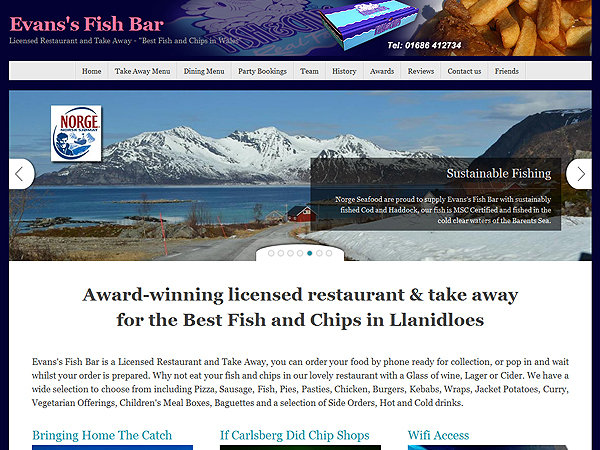 Evans Fish Bar - Website Design - Llanidloes, Powys