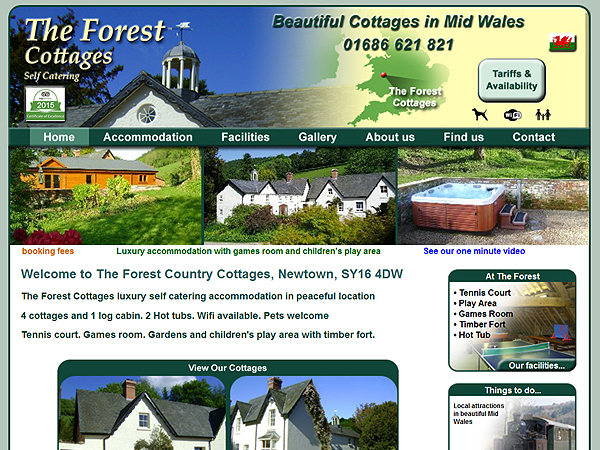 Forest Cottages - Bed + Breakfast / Self Catering Website Designs - Newtown