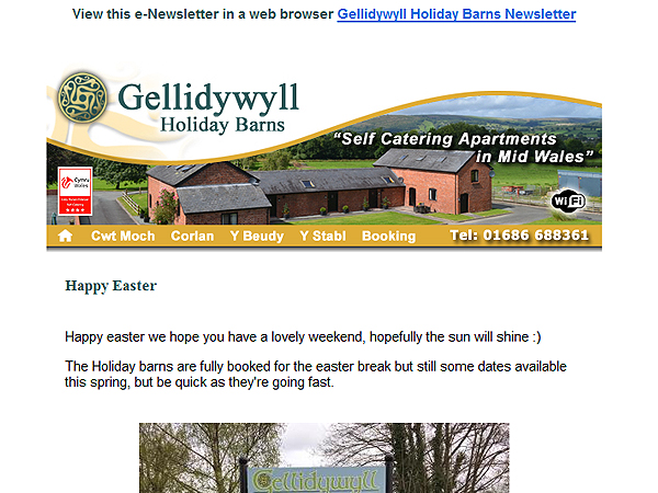 Gellidywyll Holiday Barns e-Newsletter eMarketing - Llandinam, Powys
