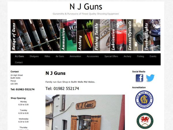 N J Guns of Builth Wells - Website Design