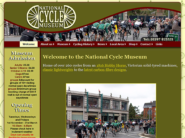 National Cycle Museum - Website Design