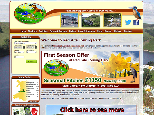 Red Kite Touring Park Website