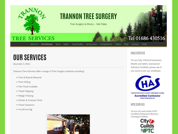 Trannon Tree Services - Llanidloes Powys Mid Wales