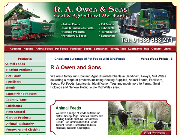 R A Owen and Sons - Website Design - Llandinam, Powys